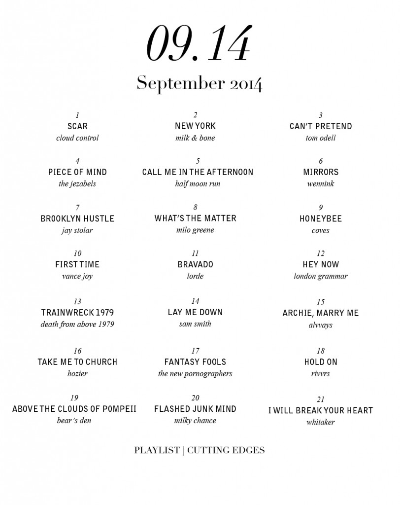 september 2014 playlist cutting edges